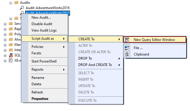 Create the Query for SQL audits