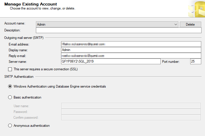 Manage Existing Account wizard in the SQL Server Management Studio