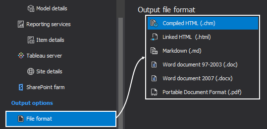 Select output file formats