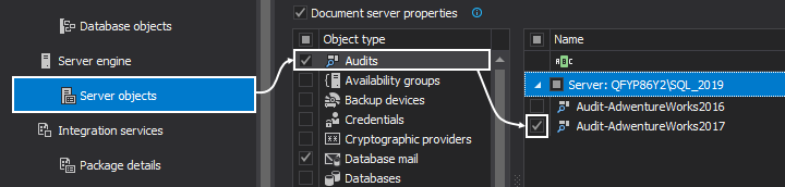 SQL Server objects available  for documentation