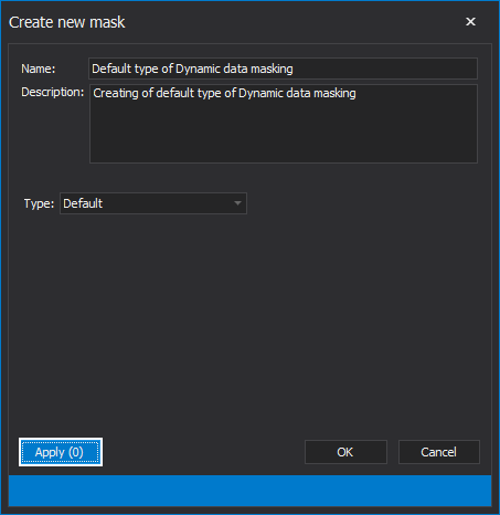 The Create new mask window