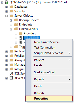 The properties option for the linked server