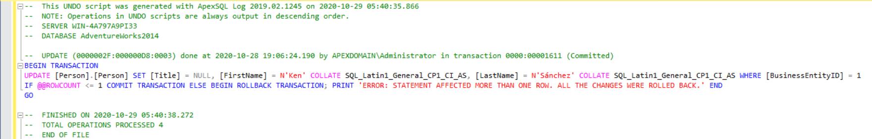 Undo script based on SQL Server transaction log