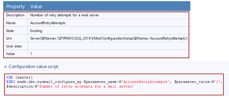 Value and properties regarding the Account Retry Attempt for database mail