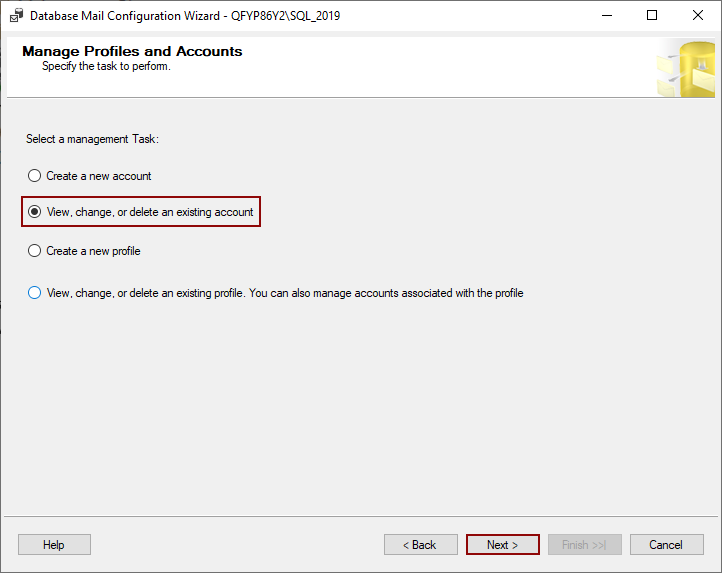 View, change, or delete an existing account wizard in the SQL Server Management Studio