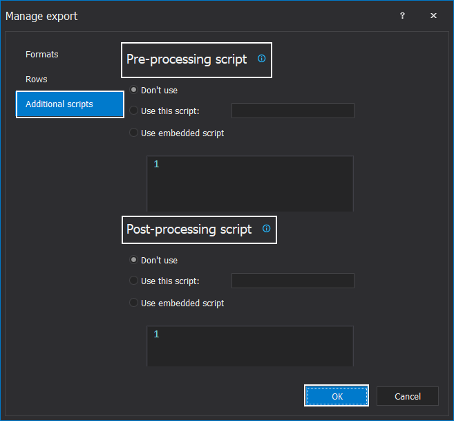 Additional processing with the data export