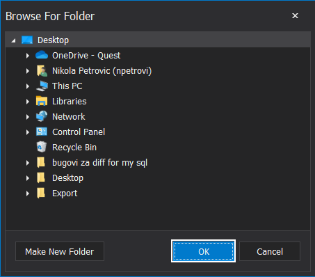 Browse for export folder location