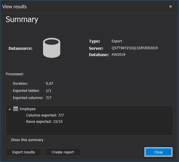 Export SQL Server data execution summary