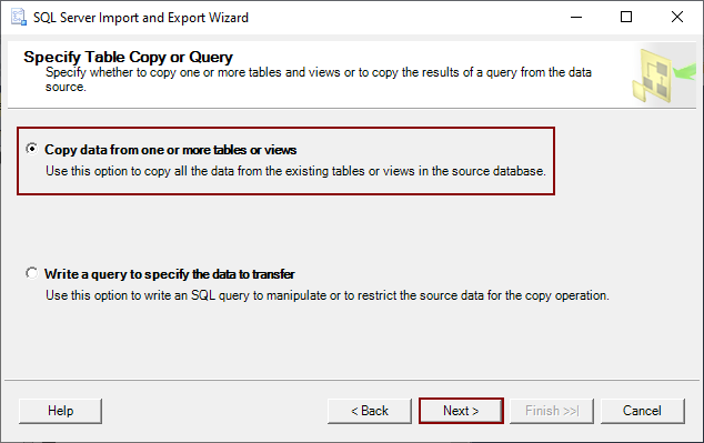 Export SQL Server data method