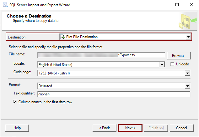 Set the export file parameters